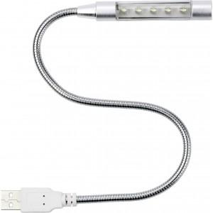 5 LED-es laptoplámpa USB csatlakozóval, fém, ezüst